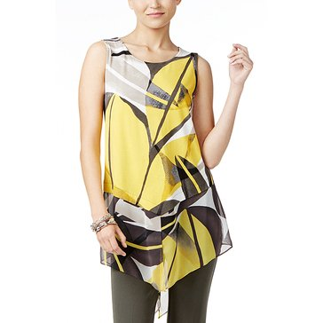 Alfani Art Leaf Print Sleeveless Sheer Pointed Hem in Yellow Art