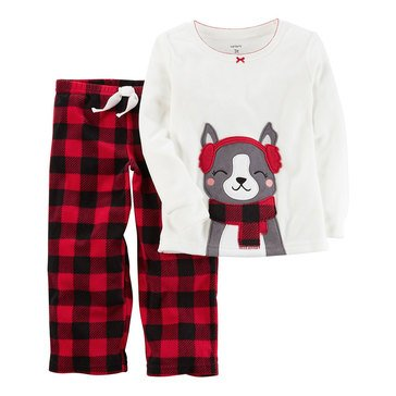 Carter's Big Girls' Christmas 2-Piece Fleece Plaid Bunny Pajamas