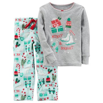 Carter's Big Girls' Christmas 2-Piece Fleece Icon Print Pajamas