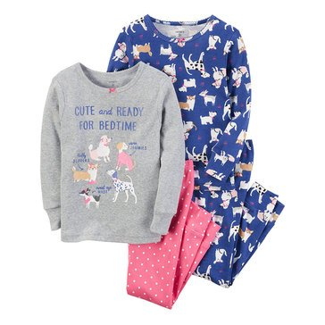 Carter's Little Girls' 4-Piece Dog Print Pajama Set