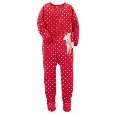 Carter's Little Girls' Christmas Fleece Dot Reindeer Pajamas