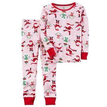 Carter's Little Girls' Christmas 2-Piece Santa Print Pajamas