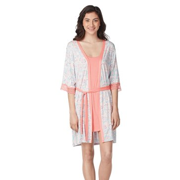 Jessica Simpson Chemise and Robe Set Coral Paisley