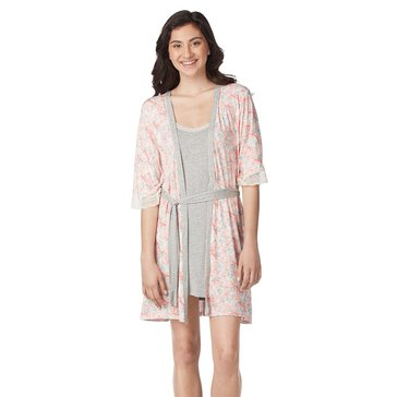 Jessica Simpson Chemise and Robe Set Grey Floral