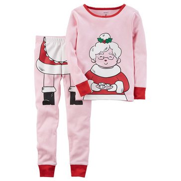 Carter's Little Girls' Christmas 2-Piece Mrs. Clause Pajama Set