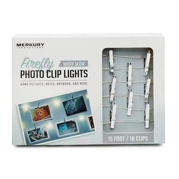 Merkury Innovations LED 15 Ft. Silver Firefly Photo Clip String Lights