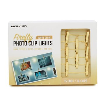 Merkury Innovations LED 15 Ft. Gold Firefly Photo Clip String Lights