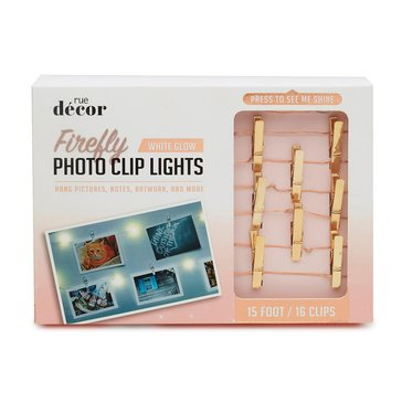 Merkury Innovations LED 15 Ft. Rose Gold Photo Clip String Lights