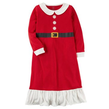 Carter's Little Girls' Christmas Poly Santa Dress Gown, Red