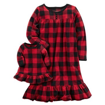 Carter's Little Girls' Christmas Fleece Plaid Gown w/ Doll Gown