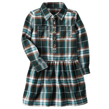 Carter's Little Girls' Plaid Flannel Dropwaist Dress