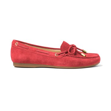 Michael Kors Sutton Moc Women's Suede Slip On Shoe Bright Red