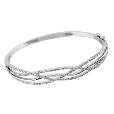 Sterling Silver Diamond Bangle