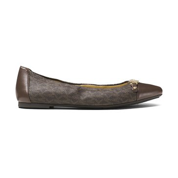 Michael Kors Joyce Women's Ballet Shoe Mini Mk Logo Brown