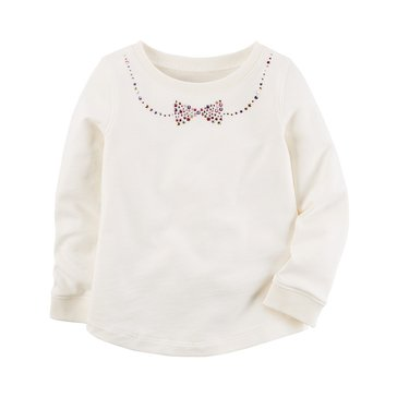Carter's Little Girls' Glitter Top, White