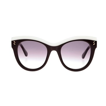 Stella McCartney Women's Sunglasses SC0021S, Black & White/ Grey Gradient 51mm