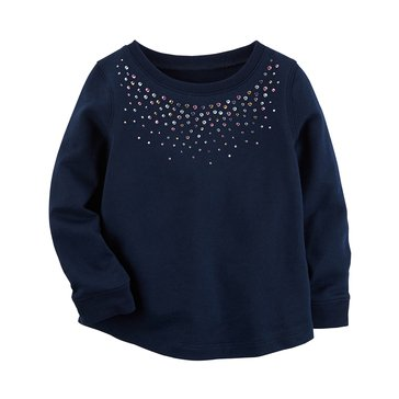 Carter's Little Girls' Sequin Trim Top, Navy