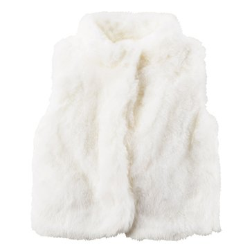 Carter's Little Girls' Faux Fur Vest, White