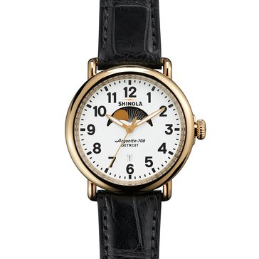 Shinola Men's Runwell Moon Phase White Dial withBlack Alligator Strap Watch, 41mm