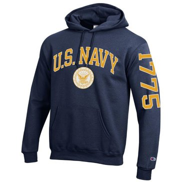 Champion Men's USN With Navy Seal & B 1775 On Sleeve Fleece Hoodie