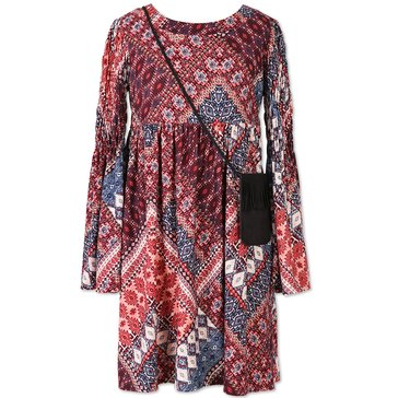 Speechless Big Girls' Print Smocked Sleeve Dress, Navy/ Wine