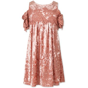 Speechless Big Girls' Crushed Velvet Cold Shoulder Dress, Light Mauve