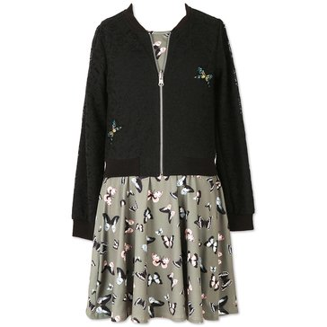 Speechless Big Girls' 2-Piece Dress w/ Lace Bomber Jacket, Olive