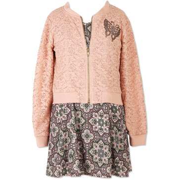 Speechless Big Girls' 2-Piece Dobby Dress w/ Lace Bomber Jacket, Olive/Blush