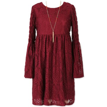 Speechless Big Girls' Lace Sleeve Babydoll Dress, Burgundy