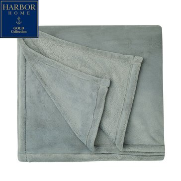 Harbor Home Gold Collection Primalush Throw, Pebble Grey