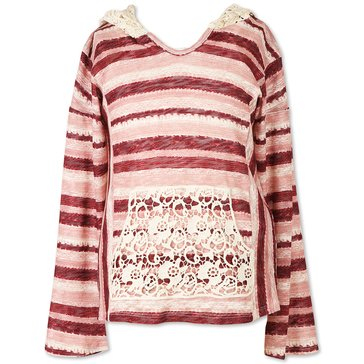 Speechless Big Girls' Stripe Lace Trim Hoodie, Burgundy/ Pink