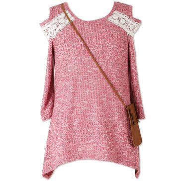 Speechless Big Girls' Rib Knit Lace Cold Shoulder Top, Berry