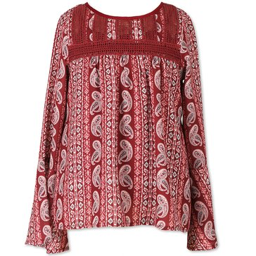 Speechless Big Girls' Bell Sleeve Chiffon Print Top, Wine/Mint