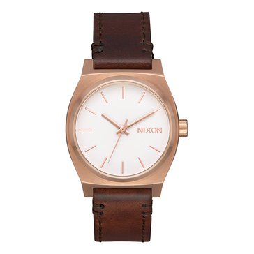 Nixon Women's Medium Time Teller Rose Gold/White with Leather Watch, 31mm