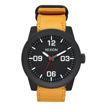 Nixon Men's Corporal Horween Leather Strap Watch, 48mm
