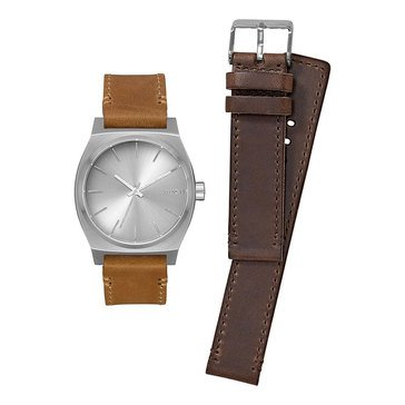 Nixon Men's Sentry Dark Brown & Tan Leather Double Strap Watch Gift Pack, 37mm