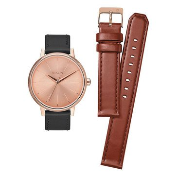 Nixon Women's Kensington Saddle & Black Leather Double Strap Watch Gift Pack, 37mm