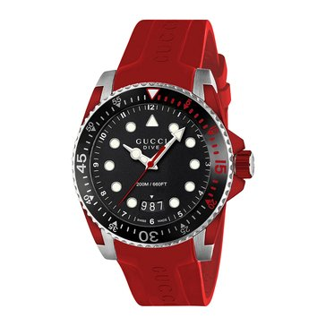 Gucci Men's Swiss Dive Black/Red Rubber Strap Watch, 40mm