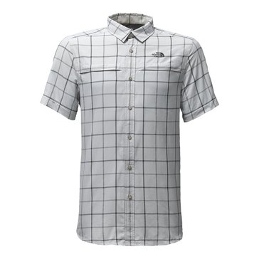 The North Face Men's Short Sleeve Tattersal Vent Me Shirt - Grey Plaid