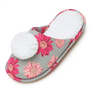 PJ Couture Moccasin Slipper with Teddy Pom Grey Daisy