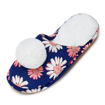 PJ Couture Moccasin Slipper with Teddy Pom Navy Daisy