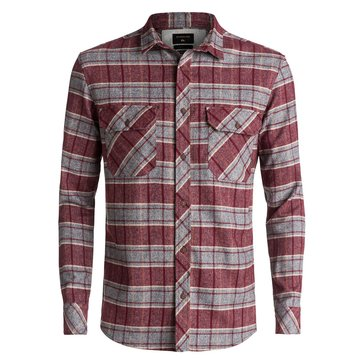 Quiksilver Men's River Back Pomegranate Long Sleeve Flannel Shirt