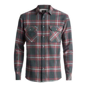Quiksilver Men's Fitz Forktail Long Sleeve Flannel Woven Shirt in Urban Grey
