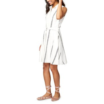 Rachel Roy Abstract lines Tie Shirtdress in White/Black