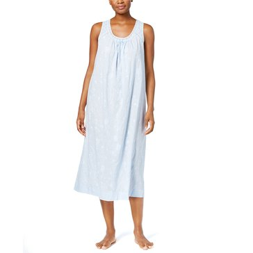 Charter Club Sleeveless Woven Gown White Blue Alder