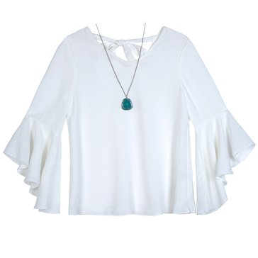 Byer Big Girls' Bell Sleeve Solid Top, Ivory