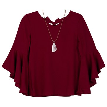 Byer Big Girls' Bell Sleeve Solid Top, Bordeaux