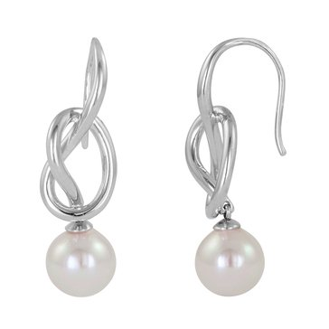 Majorica 10mm Simulated Round Knot Pearl Earrings, Sterling Silver