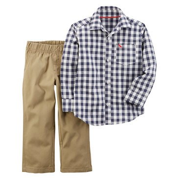 Carter's Toddler Boys' Navy Gingham Khaki Pants, 2-Piece Set