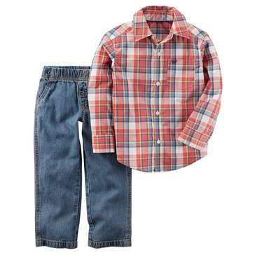 Carter's Toddler Boys' Red Plaid Shirt Woven Chambray Pants, 2-Piece Set